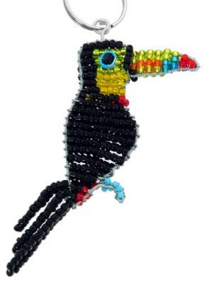 beaded toucan key chain, toucan keyring