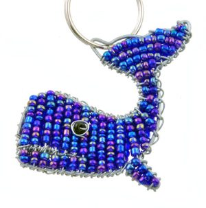 beaded whale key chain, whale keyring