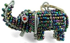 beaded elephant key chain, elephant keyring