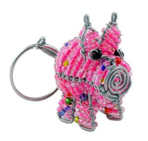 beaded pig key chain, pig keyring