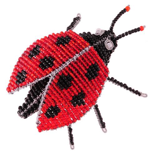 beaded ladybug, wire beaded ladybug