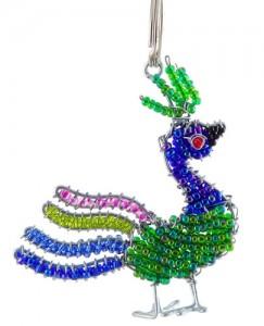 beaded peacock key chain, peacock keyring