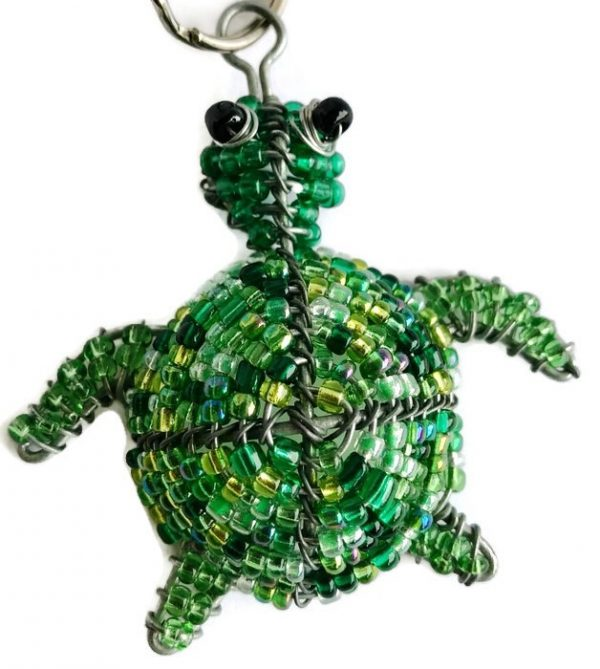 beaded turtle keychain, beaded turtle key chain, tortoise keyring