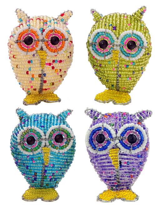 beaded owl, owl figurine