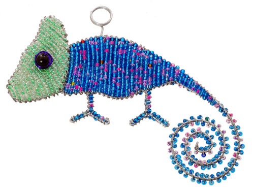 beaded chameleon ornament, chameleon ornament, beaded chameleon