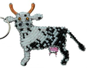 beaded cow, beaded cow key chain, cow key chain, cow keychain, cow keyring
