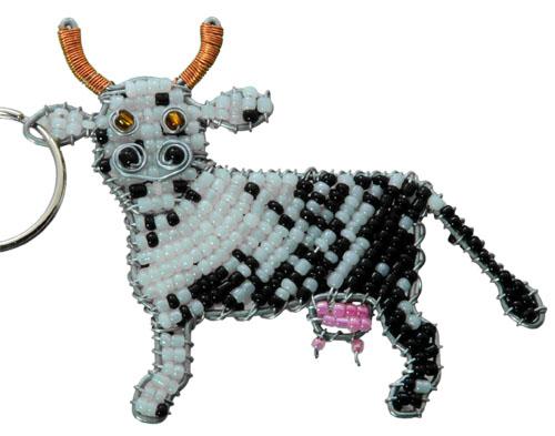 beaded cow, beaded cow key chain, cow key chain, cow keychain, cow keyring