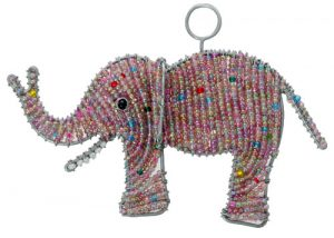 beaded elephant ornament, beaded elephant, elephant ornament