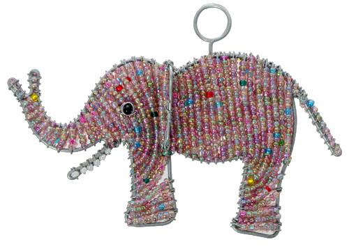 beaded elephant ornament, beaded elephant, elephant ornament