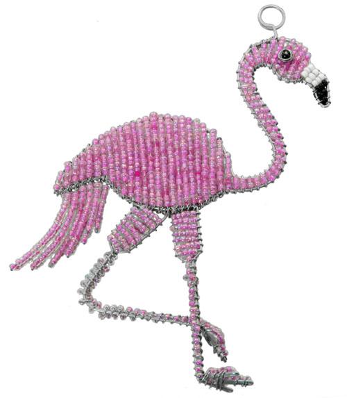 beaded flamingo, flamingo ornament