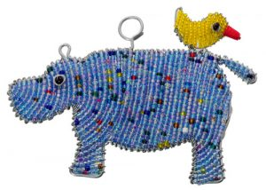 beaded hippo ornament, beaded hippo, hippo ornament