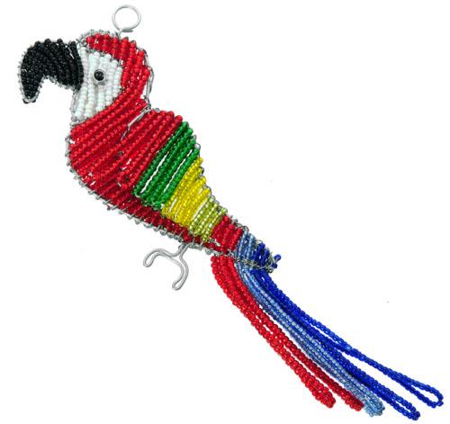 beaded macaw ornament, macaw ornament, macaw ornament, red macaw figurine