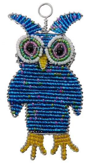 beaded owl ornament, owl ornament, owl ornament