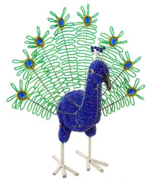 beaded peacock, beaded peacock figurine