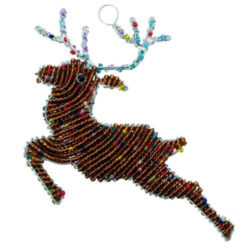 beaded reindeer, reindeer ornament