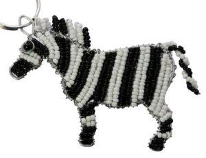 beaded zebra key chain, zebra keyring