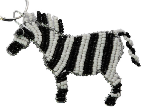 beaded zebra key chain, zebra keyring