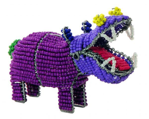 beaded hippo, beaded hippopotamus