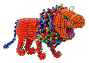 beaded lion, beaded lion figurine