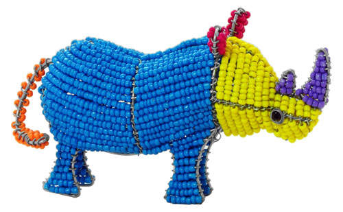 beaded rhino, beaded rhinoceros, beaded rhino figurine