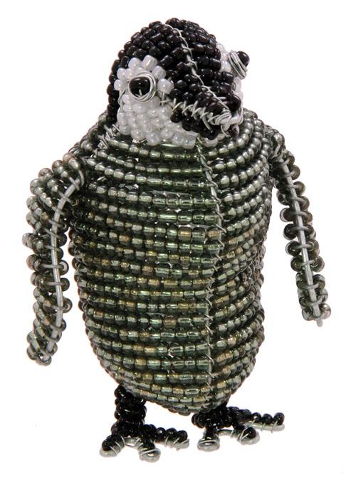 beaded penguin, emperor penguin figurine, baby emperor penguin figurine