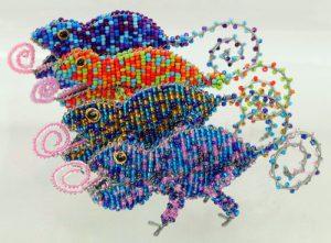 beaded chameleon, beaded chameleon figurine