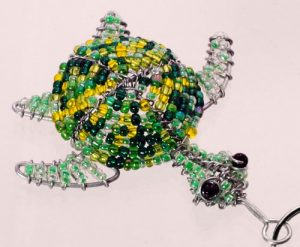 beaded turtle keychain, beaded turtle, beaded turtle key chain