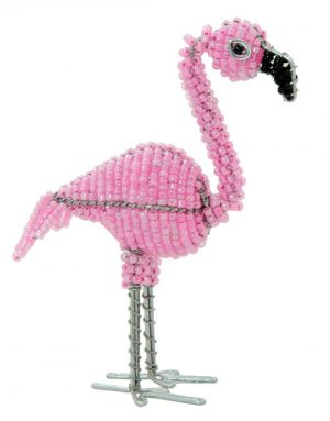 beaded flamingo, flamingo figurine