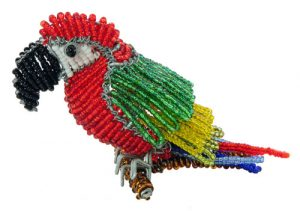 beaded macaw, macaw figurine