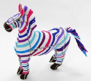 beaded zebra, beaded zebra figurine