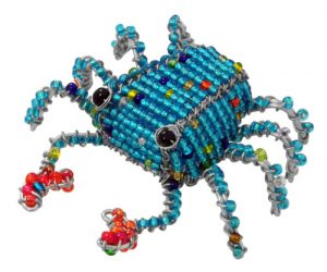 beaded crab, blue crab figurine, beaded crab figurine