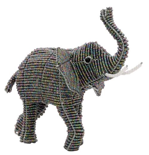 beaded elephant, beaded elephant figurine, African elephant figurine
