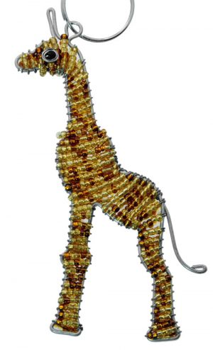 beaded giraffe key chain, giraffe keyring