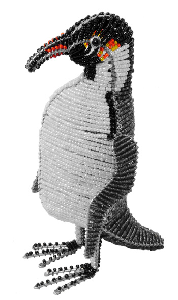 beaded penguin, emperor penguin figurine