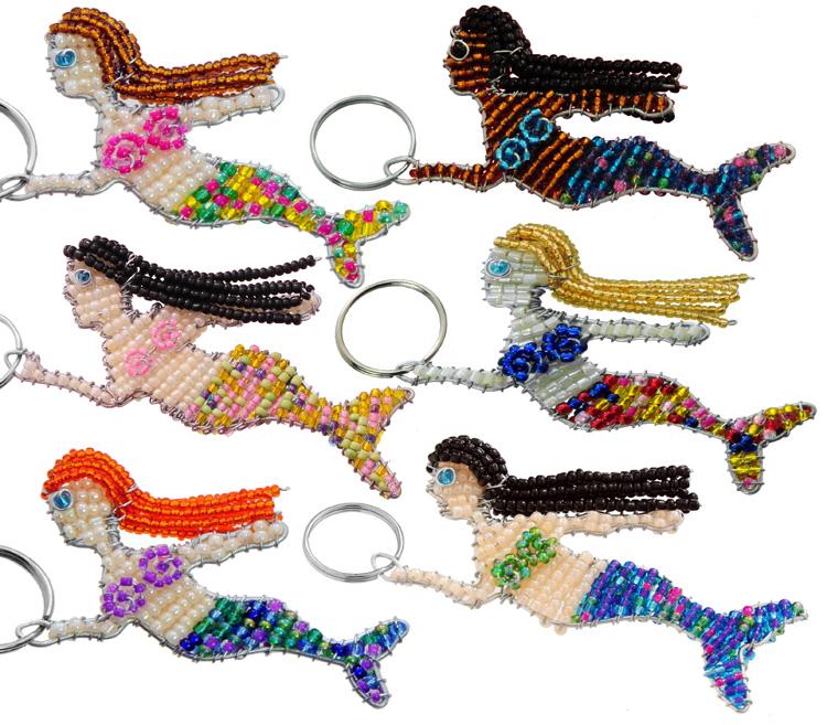 beaded mermaid key chain, mermaid key chain, mermaid keychain, mermaid keyring, mermaid key holder