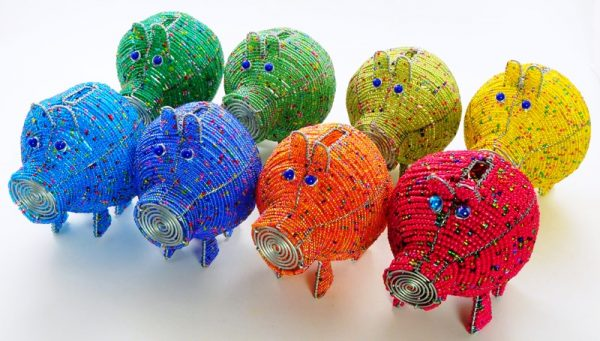 beaded piggy bank