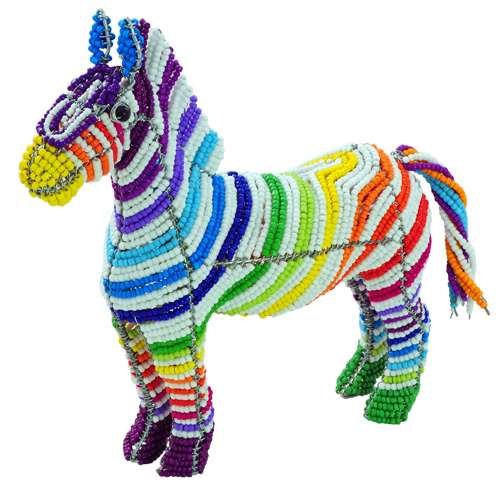 beaded zebra, zebra figurine