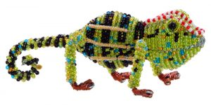 beaded chameleon, chameleon figurine, jeweled chameleon