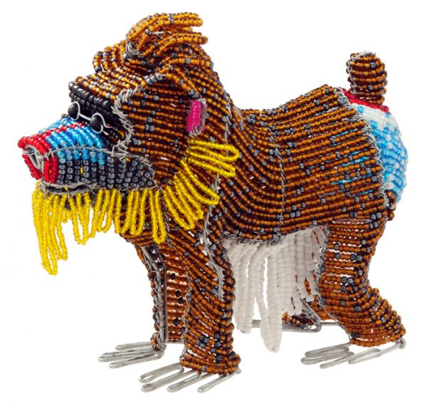 beaded mandrill, mandrill figurine