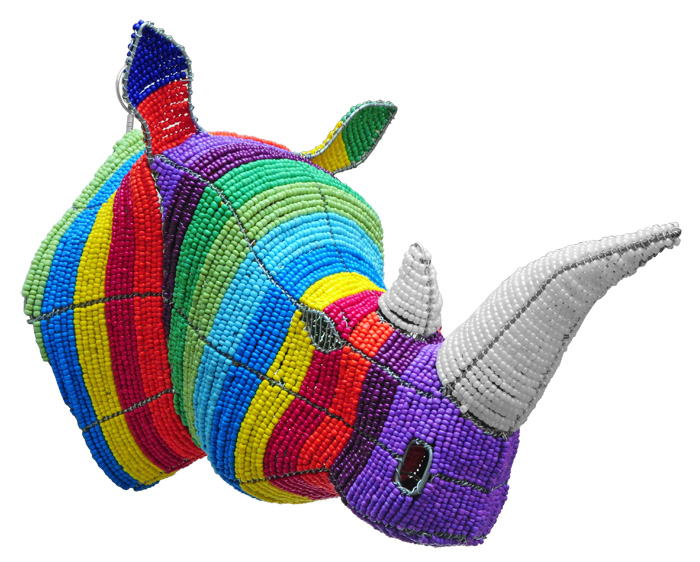 beaded rhino trophy head, rhino trophy head, rhino trophy mount