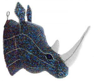 beaded rhino trophy head