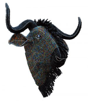 beaded wildebeest trophy head