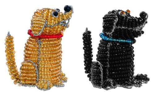 beaded dog, dog figurine, puppy figurine