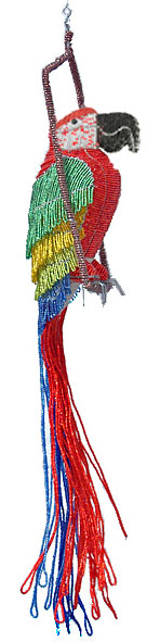 beaded macaw, red macaw figurine