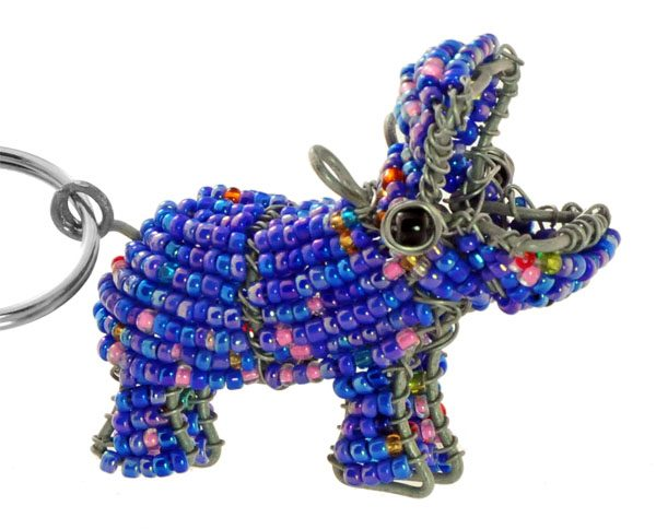 beaded hippo key chain