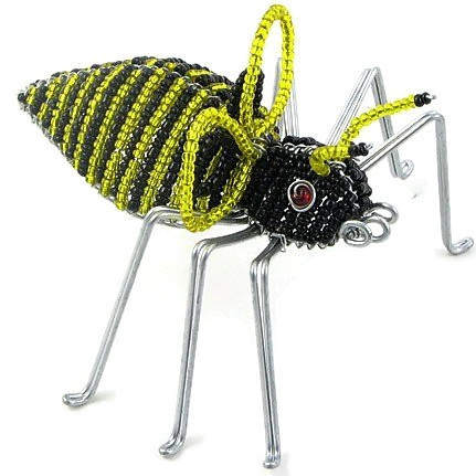 bumble bee figurine, bee figurine, beaded bumble bee