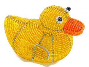 rubber duck figurine, beaded duck