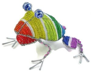 beaded frog, frog figurine