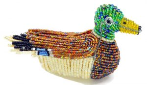 mallard duck figurine, beaded duck