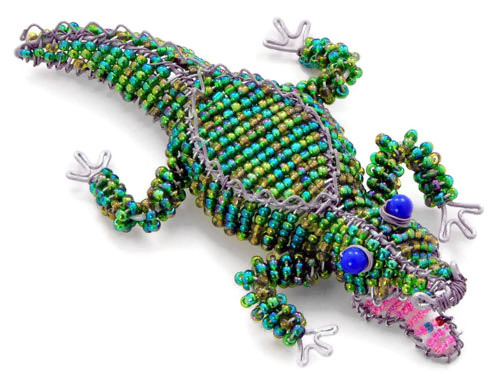 beaded crocodile, beaded gator, beaded alligator